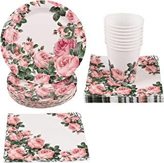 Floral Party Supplies - 100-Pack Tableware Set Includes Disposable Plates,Cups,Napkins,Great for Tea Party, Weddings, Bridal Shower,Birthdays, Baby Shower and Anniversary (Serves 25)