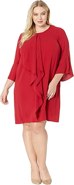 Plus Size Fancy Crepe Shift Dress with Jewel Neckline