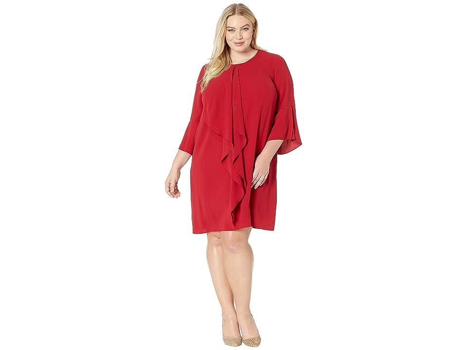 Adrianna Papell Plus Size Fancy Crepe Shift Dress with Jewel Neckline (Cardinal) Women