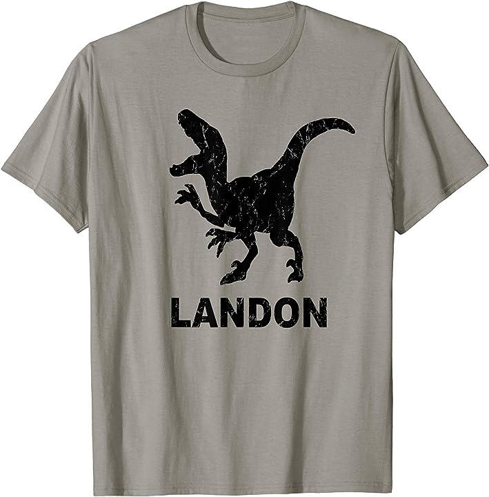 Landon Name T Rex T-shirt Distressed Black Dinosaur