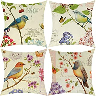Wilproo Outdoor Bird Decorative Throw Pillowcase, Bird Flower Both Sides Printed Spring Cushion Cotton Linen 18x18 Set of 4 Patio for Home Couch Sofa Decor