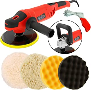 """TCP Global Powerful 7"""" Variable Speed Polisher with Digital RPM Display with 3-Waffle Foam Polishing Pads"""