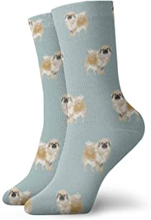 Nother, Tibetan Spaniel Dog - Calcetines cortos azules, para mujeres y hombres, transpirables, calcetines de tubo de 11.8 pulgadas