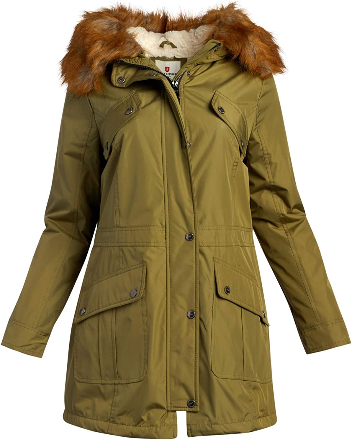 URBAN REPUBLIC Womens Winter Jacket Heavyweight Water Resistant Expedition Faux-Fur Lined Parka Jacket