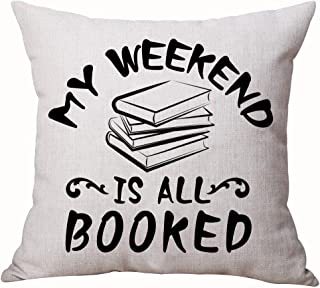 SOPARLLY Queen's Designer Book Lover Reading Book Club Black Letters My Weekend is All Booked Cotton Linen Decorative Throw Pillow Case Cushion Cover Square 18