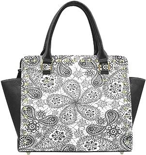 Paisley Ethnic Mandala Women Rivet Leather Shoulder Handbags Top Handle Bags with Crossbody Strap