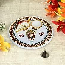 Handicrafts Paradise Marble Pooja Puja Thali Ganesha Motif