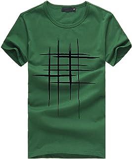 Adaoxy Camiseta de manga corta para hombre con estampado de manga corta, de algodón