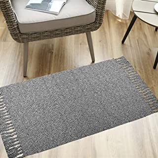 Grey Woven Cotton Rug with Tassels,HiiARug 2'x3' Cotton Throw Mat Carpet Washable Area Rug for Living Room Bedroom