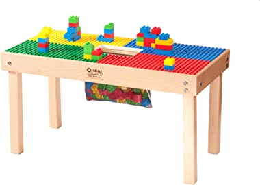 """Heavy Duty DUPLO Compatible Block Table with Built-in Storage(Patent)-32"""" x 16""""-Made in USA! PREASSEMBLED-Deluxe Series-Solid"""