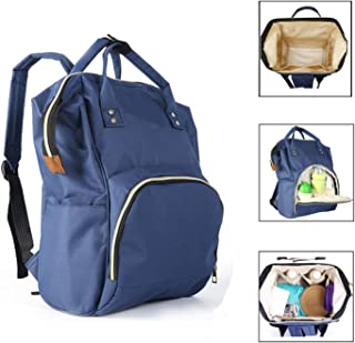 Diaper Bag Backpack Waterproof Baby Bag Multifunction Travel Back Pack Maternity Bag Nappy Changing Bag Large Diaper Bag Capacity and Stylish and Durable for mom and dad (Blue)