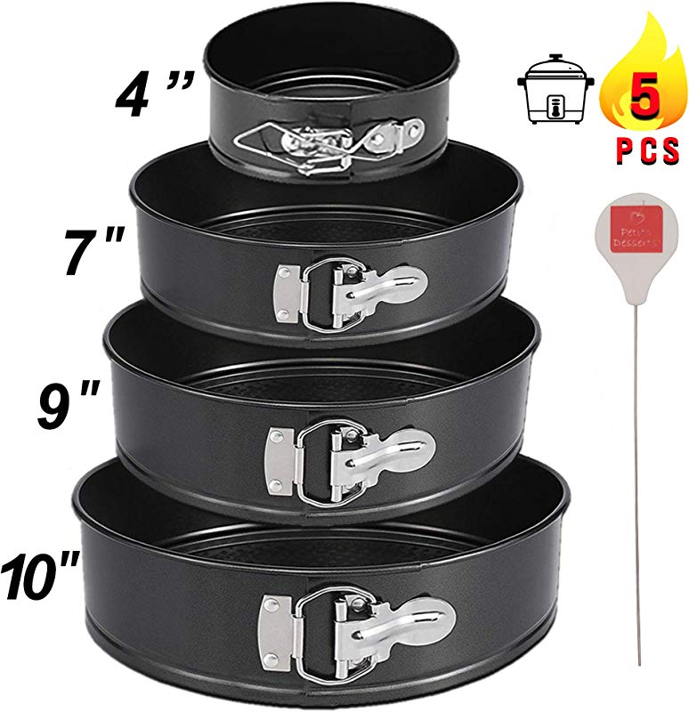 Springform Pan Set Of 4 4 7 9 And 10 Inch Cheesecake Pan Nonstick Leakproof Cake Baking Pans 1 4 Tier Wedding Cakes CAKE TESTER Included Instant Pot Compatible Spring Form Cake Baking Pans