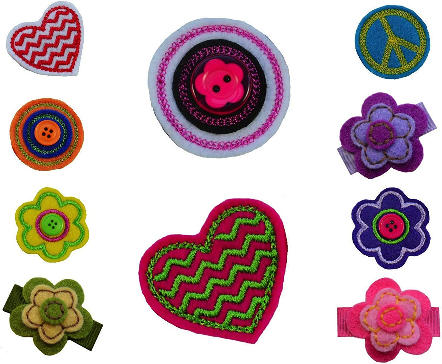 SALENEW very popular Long Beach Mall Girls Set of 10 Felt Hair Clips Holder Funny Bow By Gir and FREE