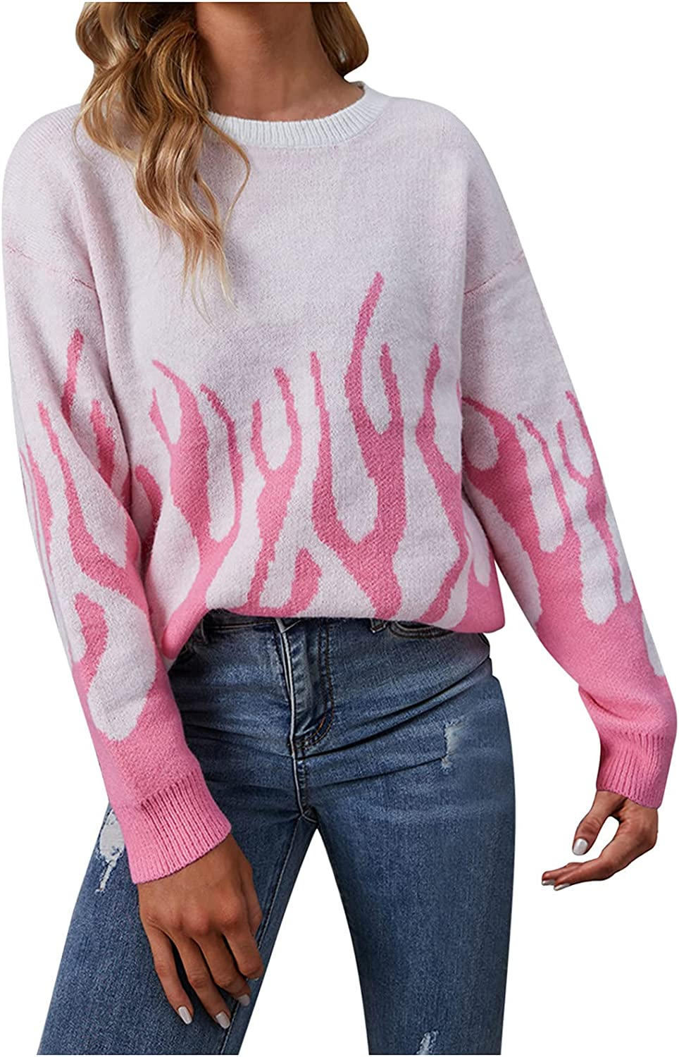 Women's Long Sleeve Flame Casual Knitting Sweater Color Block Patchwork Loose Crew Neck Knitted Jumper Pullover Tops