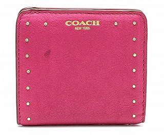 [コーチ] COACH 2つ折り財布 スタッズ レザー ゴールド ピンク 赤 レッド