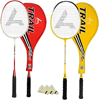 Guru Trail BR06 COMBO-04 Badminton Racket Set Pack of Two With Two Cover & 3 Shuttlecock Size: 27 inch