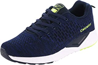 calcetto Latest Collection for Mens Navy Blue Lime Nylon Mesh Sports Shoes