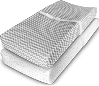 Ziggy Baby Changing Pad Cover, Cradle Bassinet Sheets Jersey Cotton (2 Pack) (Grey/White)
