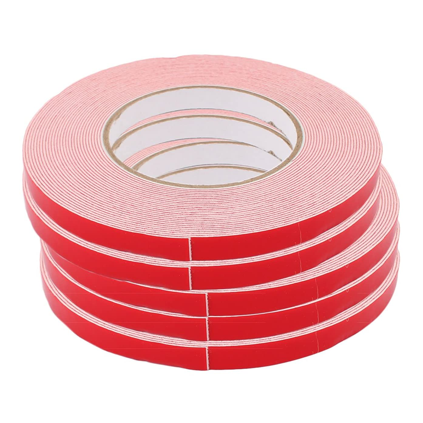 uxcell 5 Pcs 10M Length 10mm Dual Side Adhesive White PE Foam Tape for LED Board