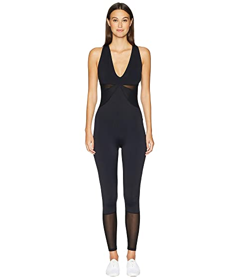 Cushnie Edie Sleeveless Deep V Jumpsuit w/ Mesh Panels