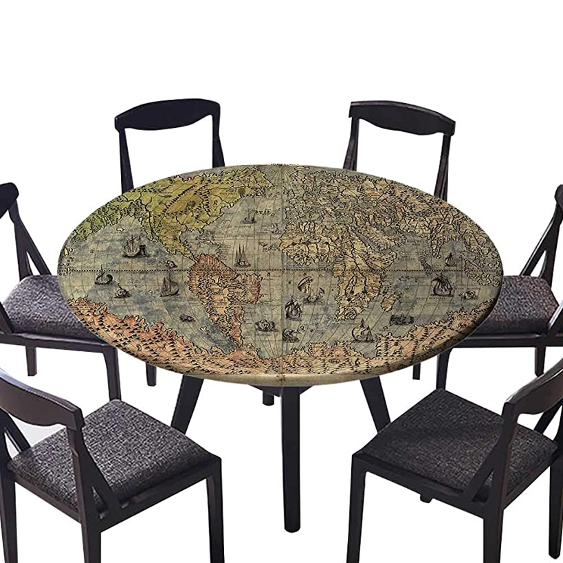 Round Table Tablecloth Ancient Map of World Global History Stained Paper Oceans Lands Atlas Educationa Machine Washable 40