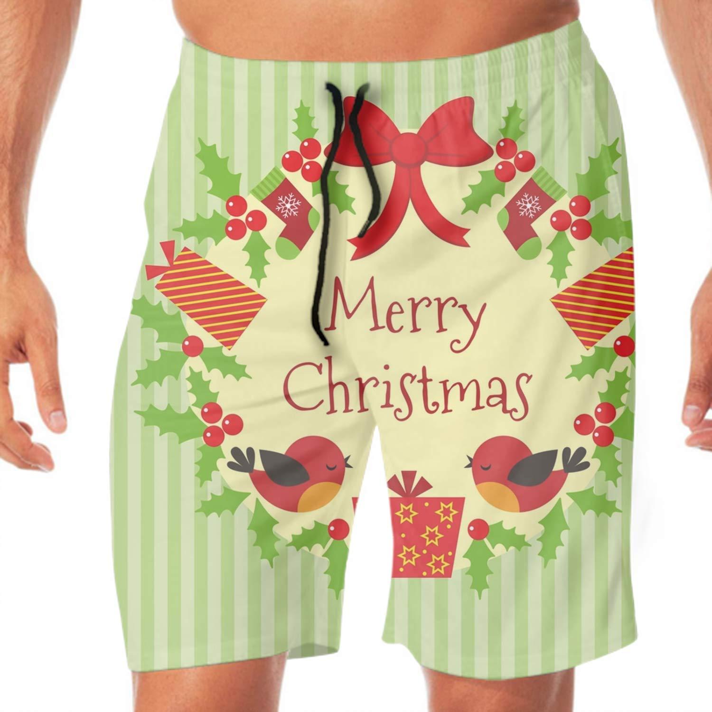 サーフパンツ メンズ Christmas Wreath 海水パンツ 海パン 学校用 水着 海外旅行 リゾート