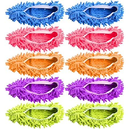 5-Pairs Mop Slippers Shoes for Floor Cleaning, 10 Pcs Microfiber Shoes Cover Reusable Dust Mops for Women Washable, Mop Socks for Foot Dust Hair Cleaners Sweeping House Office Bathroom Kitchen