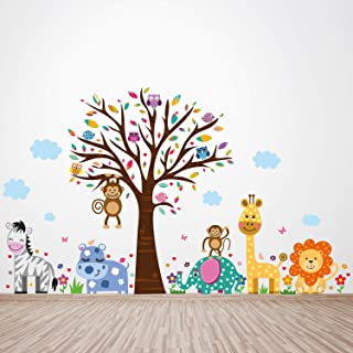 """Walplus Wall Stickers """"Happy London Zoo"""" Removable Self-Adhesive Art Decal Murals Nursery Restaurant Cafe Hotel Building O..."""