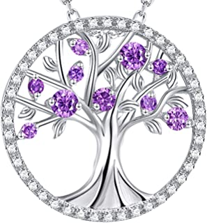 Elda&Co ❤️ Tree of Life ❤️ Created Purple Amethyst Necklace Birthday Gift for Women Teen Girls Wife Sterling Silver Fine Jewelry Anniversary Gift