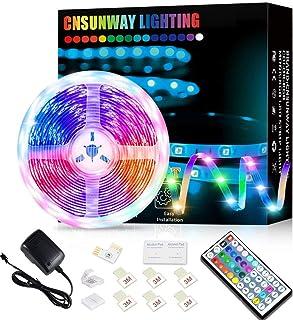 Ruban LED 5M, CNSUNWAY LIGHTING Bande RGB 5050 LED Lumineuse Multicolore avec Télécommande à 44 Touches pour Fête Décor po...