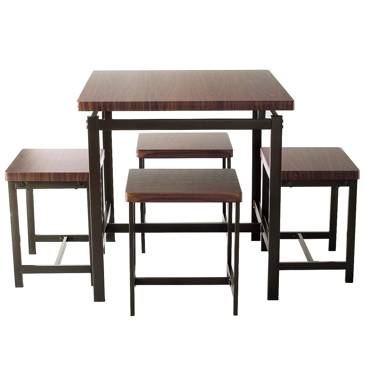 """アイアンフレーム ダイニングテーブル & チェア """"GRAIN(グレイン)"""" ウォールナット 5点セット 幅75cm(ダークブラウン )鉄脚"""