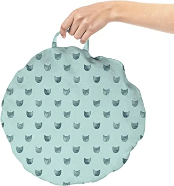 Lunarable Kittens Round Floor Cushion with Handle, Cat Lover Themed Minimalist Pattern of Watercolor Pet Head Silhouettes, De