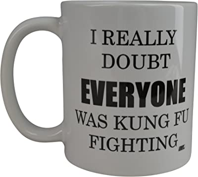 Funny Sarcastic Coffee Mug I Really Doubt Everyone was Kung Fu Fighting Novelty Cup Gift Home Work Office
