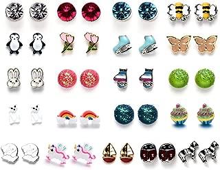 30 Pairs Stainless Steel Multiple Cute Animals Heart Moon Star Crystal Cross Pearl Ball Small Hoops Stud Earrings Set for Women Teens