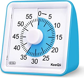 KeeQii Kids Timer 60 Minute Visual Analog Timer 3 inch Silence Countdown Clock - Classroom Teaching or Meeting Timer for Kids and Adult