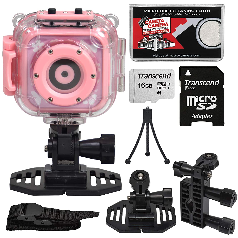 Precision Design K1 Kids HD Action Camera Camcorder (Pink) with Helmet & Handlebar Bike Mounts + 16GB Card + Mini Tripod + Kit