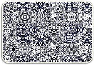 Marokański ceramiczny wzór w średniowieczu inspiracje portugalskie ozdobne kwadraty wycieraczka antypoślizgowa mata łazien...