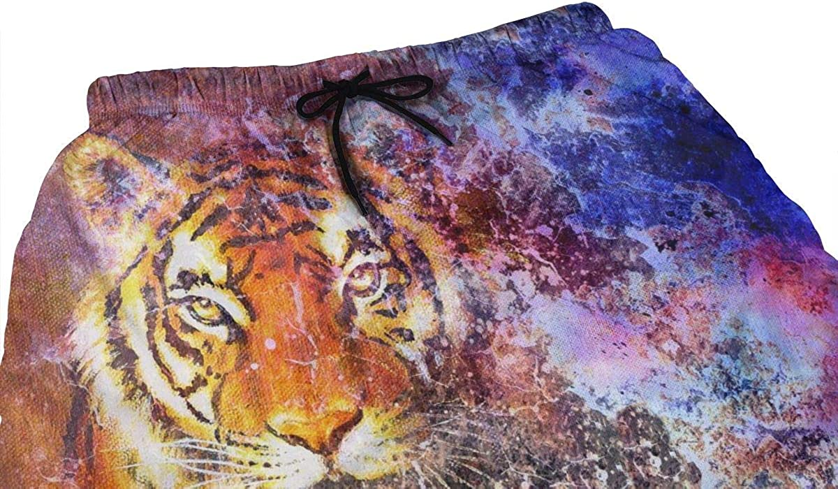 DASMUS Tiger in Space with Stars Mens Quick Dry Beach Board Shorts Swim Trunks with Mesh Lining