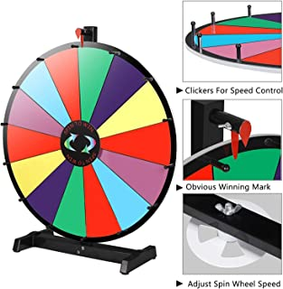 """Smartxchoices Tabletop 24"""" Prize Spin Wheel 14 Spinning Slots Color Customize Spinner Wheel Game with Dry Marker Pen & Eraser,Trade Show Carnival Fortune"""