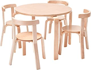 ECR4Kids Bentwood Curved Back Table and Chair Set, Premium Kids Wooden Furniture for Homes, Daycares and Classrooms, Natural