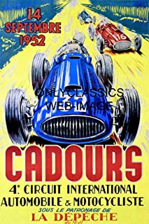OnlyClassics 1952 CADOURS Grand Prix Formula ONE AUTO Racing Poster Old Motorcycle Race Track
