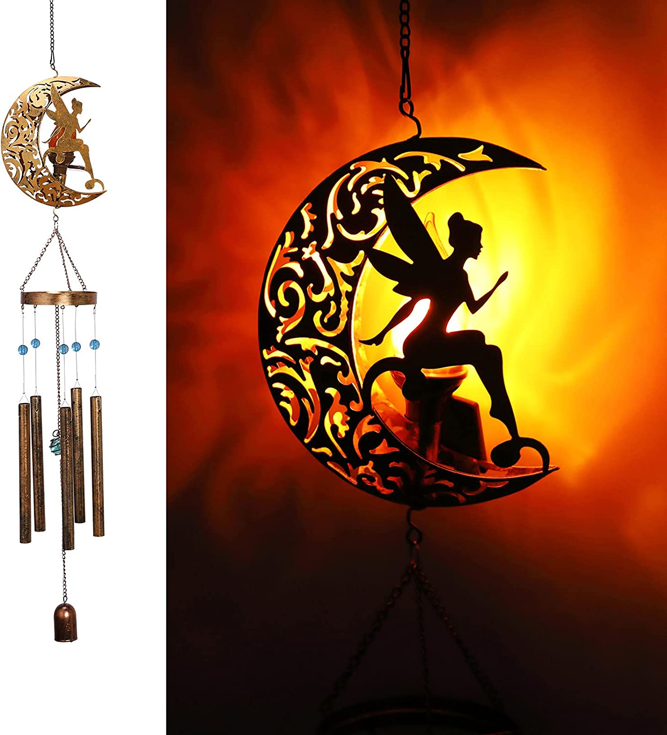 YJFWAL Moon Wind Chimes,Solar Fairy Moon Lights Solar Wind Chimes with Angel Decor Outdoor for Garden, Sympathy Gift, Gifts for Mom, Gifts for Grandma, Mom Gifts, Memorial Wind Chime