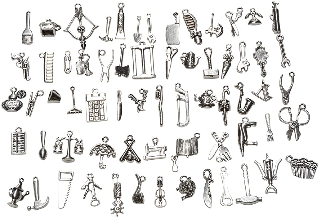 Yansanido 65 Pieces Mixed Tools Pendants Charms for Jewelry Making and Crafting - Smooth Tibetan Silver Bulk Charms DIY (65 pcs Tools Silver)