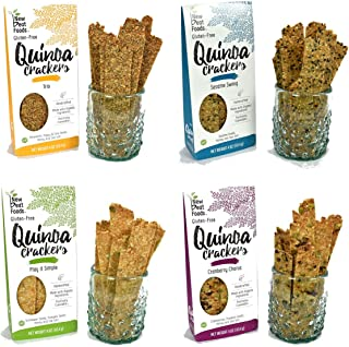 Gluten Free Crackers by New Beat Foods made with Organic Quinoa & Natural Ingredients | Crunchy, Nutritious and Delicious | Non-GMO, Dairy and Allergen Free | 4 Flavor Variety Pack, 4 oz x 4 count