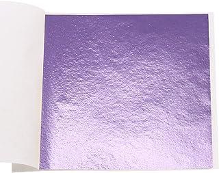 VGSEBA Imitation Gold Foil Sheets Gold Leaf Paper - 100 Pieces Peach Purple Color Metal Leaf for Arts Decoration, Handcraf...