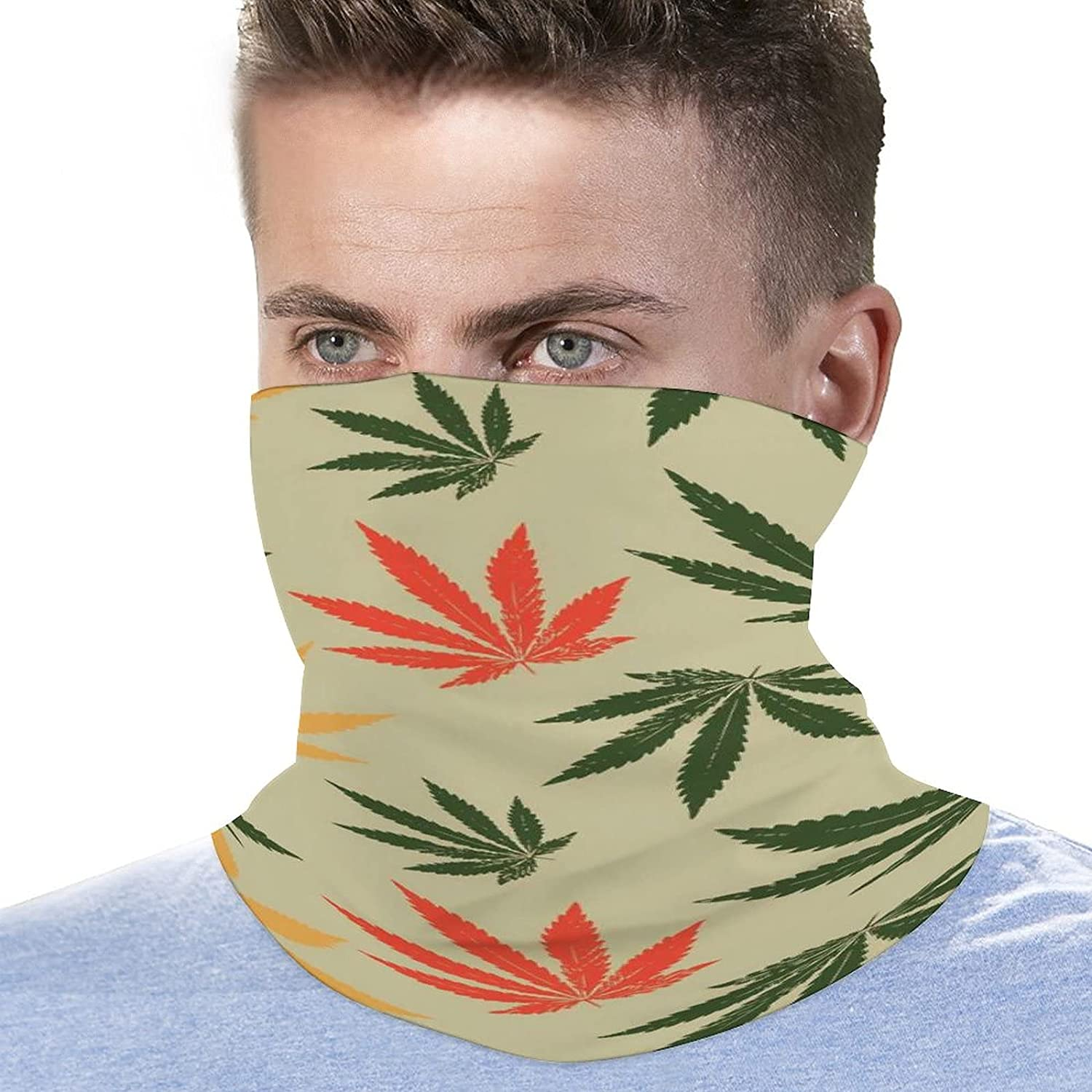 Multifunction Neck Gaiter face Mask for Cooling Summer,Cannabis Leaf Marijuana Leaf Unisex Breathable Bandana Seamless Balaclavas for Dust Outdoor Fishing and Sports Face Cover Scarf