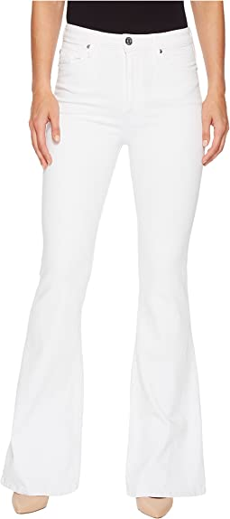Hudson Holly High-Rise Five-Pocket Flare Jeans in Optical White