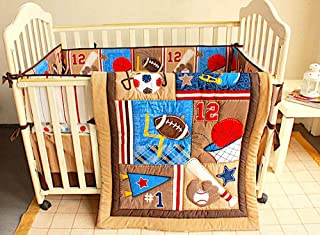 BabyCrib Unique Cute Adorable, All Sports Set, Brown, 10 Piece Bedding Set, Including Crib Bumper, Diaper Stacker, and Bonus Baby Monthly Milestone Blanket for Newborn Baby Boy.