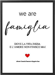 Quadro Famiglia con Nomi Personalizzato con Cornice - Regalo Amicizia Matrimonio Anniversario Marito e Moglie Mamma Figli ...