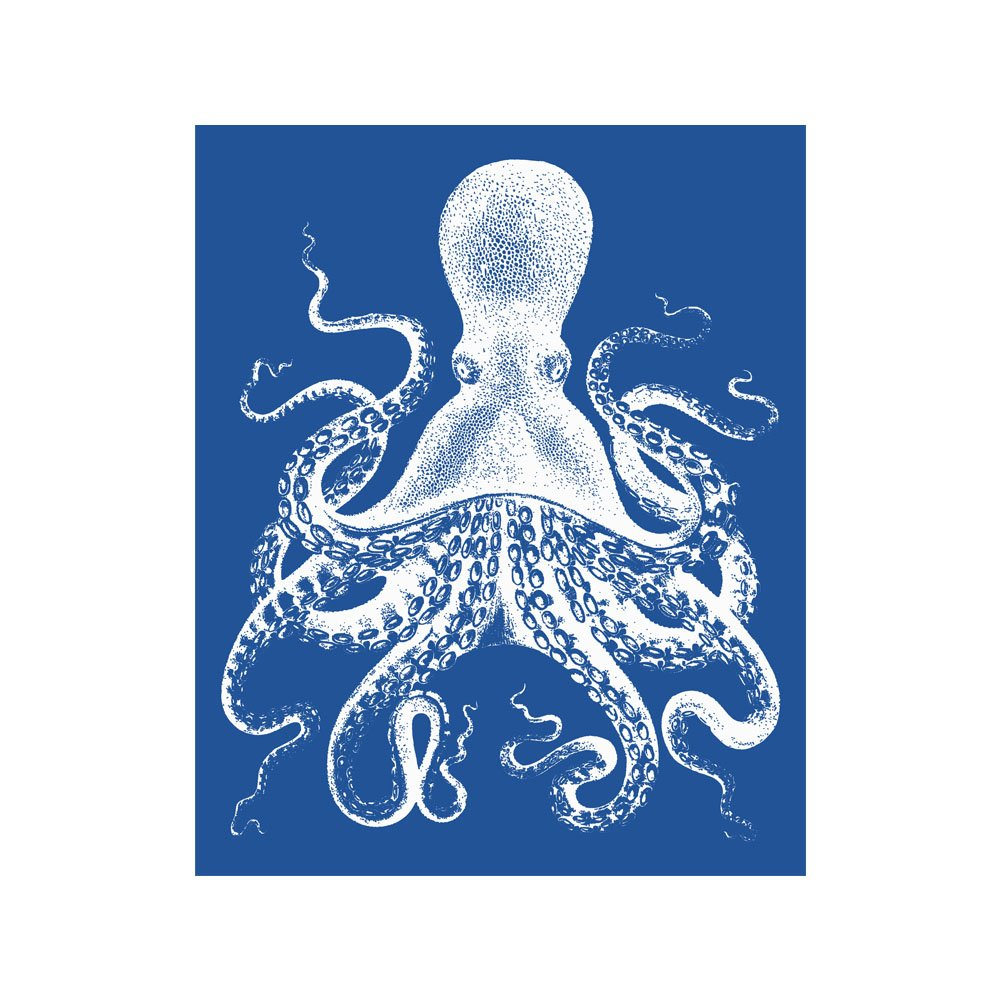 Octopus Blue and White Dealing full price reduction Nautical Vintage Style Print Max 47% OFF Beach Art Ho